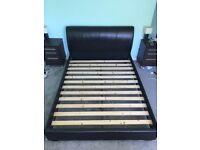 King Size Bed, Dark Brown Leather Headboard and Frame - SOLD