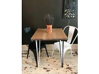 ARTEMIS Handmade Monochrome Hairpin Leg Dining Table With Two Chairs Cafe Bistro Style Industrial