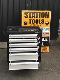 6 Drawer Tool Box with 266pcs Tools + Side Cabinet with 2 Shelves + Lockable Door.