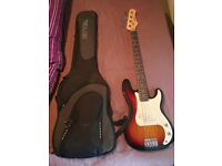 Stagg bass guitar and case