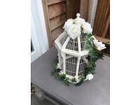 Vintage large birdcage with flowers that can be removed