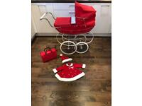 Silver Cross Girls Red Dolls Pram Christmas Vintage Baby Bag