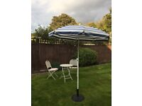 Blue and White Striped Sunshade and Stand