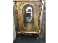 Beautiful ornate gold baroque style Louis display cabinet