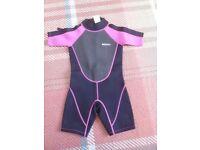 Mountain Warehouse Girls Shortie Wetsuit 5 - 6 years black pink