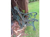 Two Old Metal Garden Bench Ends