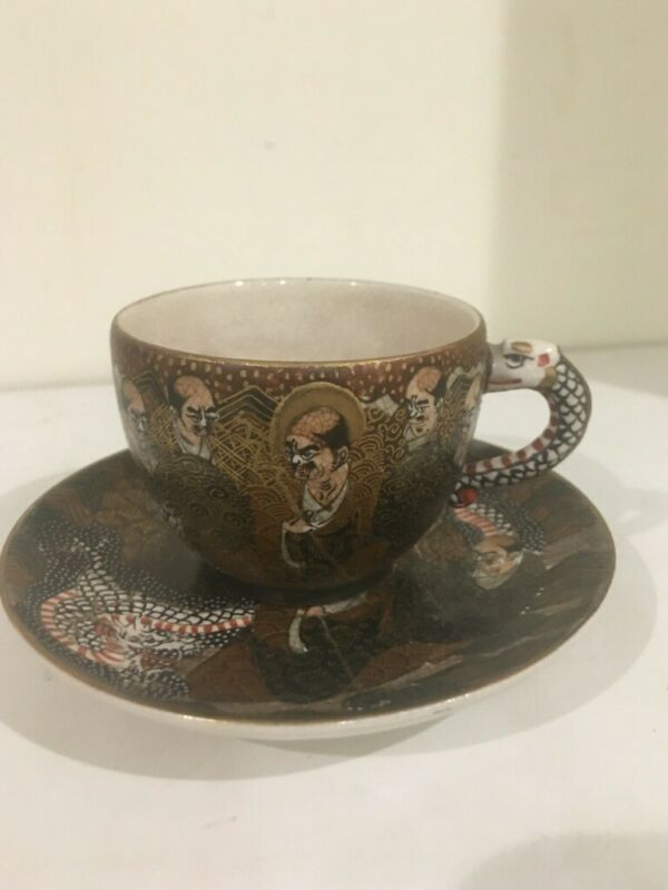 Antique Japanese Old Satsuma Immortal Cup and Saucer