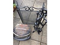 Fireside grate, screen and tools set