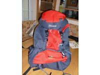 BERGHAUS RUCK SACK. BRAND NEW. SIZE 45 + 8. RED & GREY
