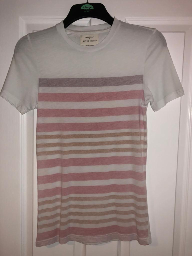 River island red and white tshirt mens size xxs