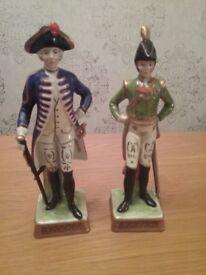 Pair of antique ornamental soldier figurines
