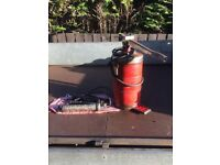 grease gun pot and two grease guns
