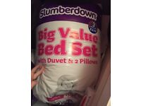 New double duvets with 2 pillows