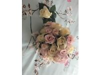 Artificial Bridal Bouquet with button hole silk roses ivory and pink with pearls