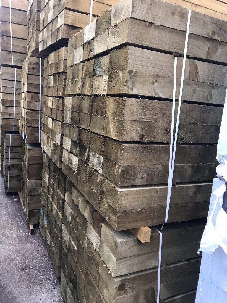 🐛 Tanalised Wooden Railway Sleepers > 190 X 90 X 2.4M
