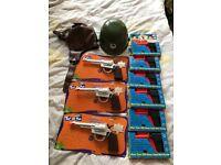 Brand new spud guns, gun and badge, arm hat, pilot hat and pumpkin monster set £2 each