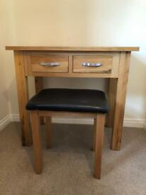 Oak Dressing table and matching chair