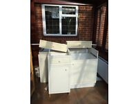 Selection of used kitchen cupboards suitable for shed, workshop or garage