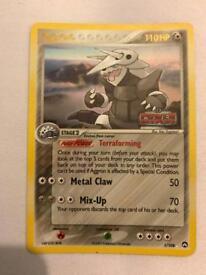 Aggron Pokemon card. Holo rare