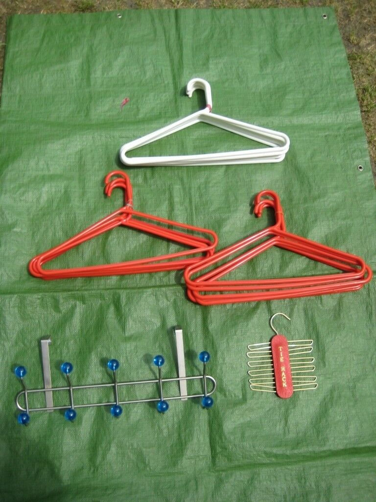 18 Large Plastic Clothes Hangers Slide On Metal Coat Hook Rail And Tie Rack For Only 4 00
