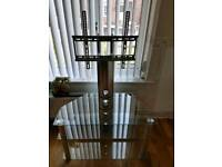 Glass tv stand with bracket