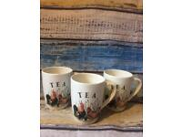 Vintage The Leonardo style Chicken Ceramic 3x Tea/ Coffee Mug / Cup