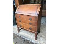 ANTIQUE OAK WRITING BUREAU - ANTIQUE VINTAGE RETRO