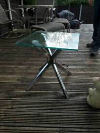 Heavy glass side table