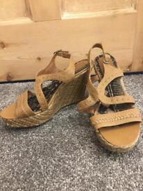 Ladies tan platform wedge heels size UK 6