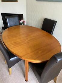Extending Teak Table & 4 Chairs