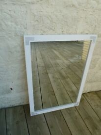White Painted Solid Wooden Mirror with Diamante Details (102cm x 70cm)