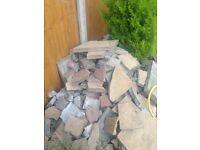 Bagged Broken paving slabs