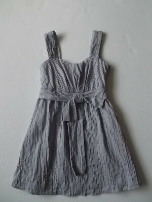 C LUCE Gray Crinkle Attached Bow Sleeveless SHIRT TOP Sz S Small