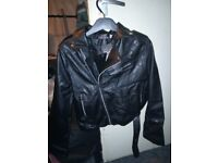 Faux leather ladies jacket