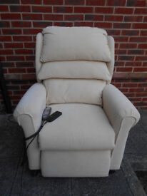Cream electric riser recliner chair with massage - Can deliver