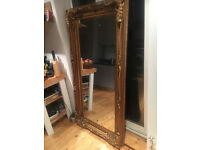 Beautiful large ornate mirror with metal frame, 5ft 9 x 3ft