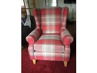 Next Wing Back Chair (Sherlock) in Versatile Check Stirling Red less than 1 year old