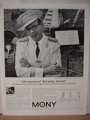 1964 Mony Mutual Of New York Life Insurance Music Director Bangor Print Ad 10568