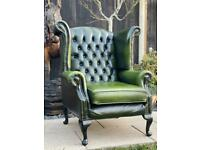 Beautiful Chesterfield Thomas Lloyd Green Leather Queen Anne Chair
