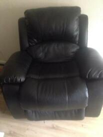 2 black leather recliner chairs