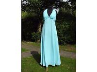 Clare Louise UK 16 Handmade Sea Blue Occasion Prom Dress Beautiful Beaded Detail