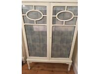 Vintage solid wood hand painted shelving unit.