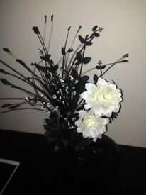 Artificial Silk Flower Arrangement In Black & White In Black Shaped Vase