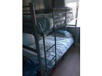 Silver metal frame bunk beds for sale with 2 single matresses