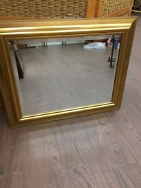 Gold painted framed mirror