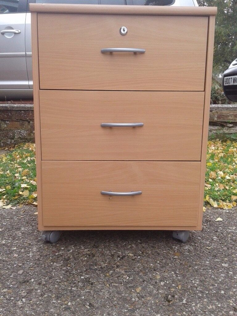 Bedside table, three drawers