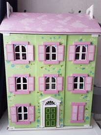 Beautiful Wooden Dolls House with Furniture and Figures
