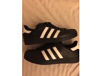 Menander black adidas superstars size 8
