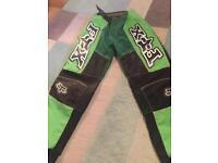 Green children motocross trousers