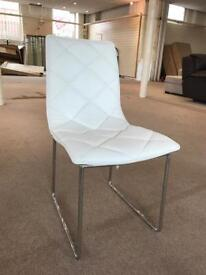 4 x designer white pu leather dining chairs set metal chrome base legs modern contemporary